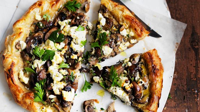 Free-form mushroom and cheese tart