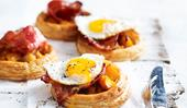 Pumpkin and maple bacon tarts with fried eggs