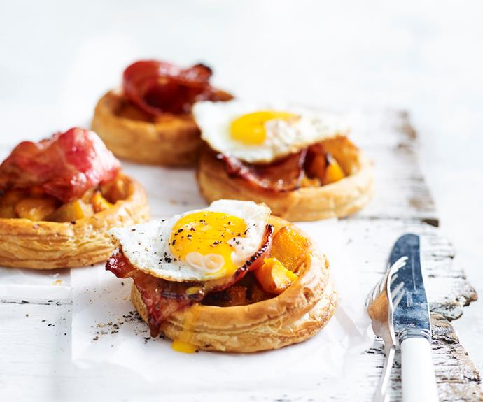 "**[Pumpkin and maple bacon tarts with fried eggs](https://www.womensweeklyfood.com.au/recipes/pumpkin-maple-bacon-tarts-31222|target=""_blank"")**  Here's how you can take your bacon and egg sandwich to the next level."