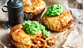 Mushroom pie with minted mushy peas