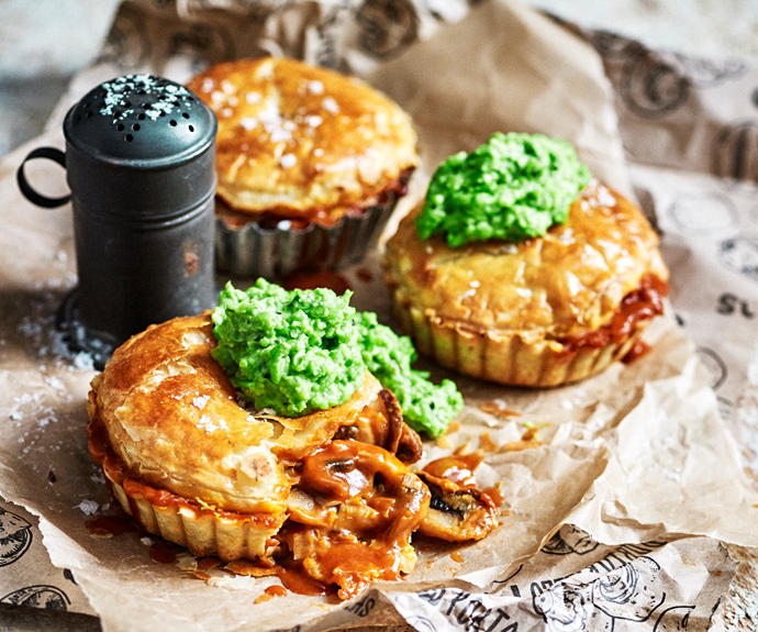 "A [mushroom pie with crushed minty peas](https://www.womensweeklyfood.com.au/recipes/mushroom-pie-with-minted-mushy-peas-31223|target=""_blank"") is an age-old classic for a reason. With a fresh herbed pastry and rich red wine gravy, this is a one is a keeper."