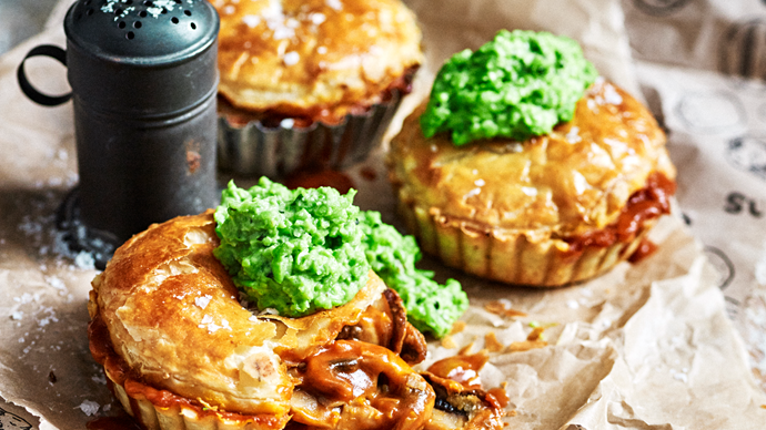 Mushroom pie with minted peas.