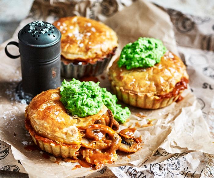 Mushroom pie with minted peas.