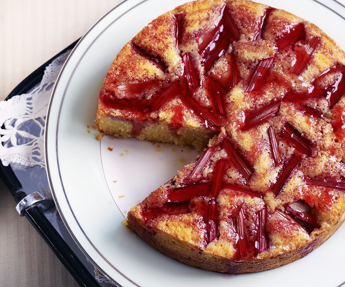 """**[Orange, semolina and rhubarb cake](https://www.womensweeklyfood.com.au/recipes/orange-semolina-and-rhubarb-cake-12881