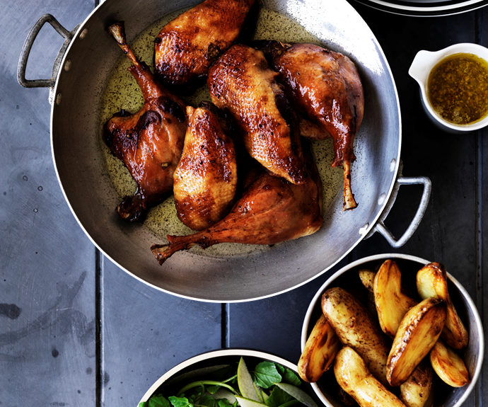 """**[Duck confit with pan-fried kipflers and pear and watercress salad](https://www.womensweeklyfood.com.au/recipes/duck-confit-with-pan-fried-kipflers-and-pear-and-watercress-salad-13084 target=""""_blank"""")**  An exquisite duck confit with pan-fried kipflers and pear and watercress salad for special occasions. The simple and centuries old process of cooking duck in this way has changed very little."""