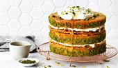 Pistachio and apricot baklava cake
