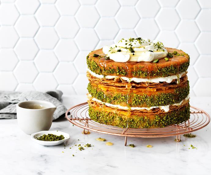 "**[Pistachio and apricot baklava cake](https://www.womensweeklyfood.com.au/recipes/pistachio-and-apricot-baklava-cake-31226|target=""_blank"")**  With all the well loved flavours of baklava layered between moist cake, this tastes as good as it looks."