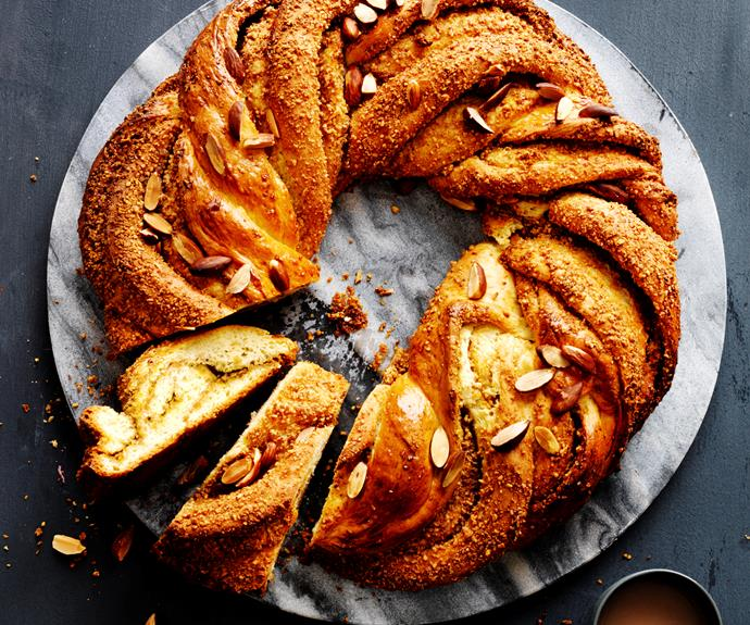 """**[Citrus almond twist](https://www.womensweeklyfood.com.au/recipes/citrus-almond-twist-4927