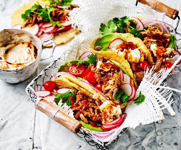 """**[Cauliflower tortillas with pulled pork](https://www.womensweeklyfood.com.au/recipes/cauliflower-tortillas-with-pulled-pork-31238