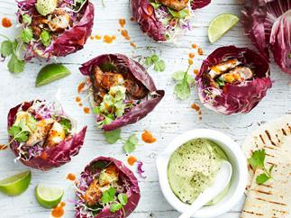 Jerk fish & slaw salad cups