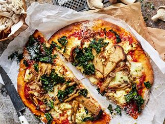 Mushroom & three-cheese pizza