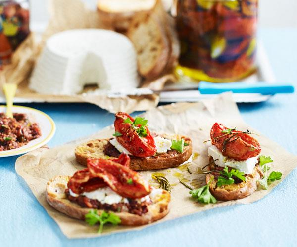 "**[Bread crisps with confit tomatoes](https://www.womensweeklyfood.com.au/recipes/bread-crisps-with-confit-tomatoes-31285|target=""_blank"")**  Looking for a new snack or canape? These slow-roasted tomatoes on bread crisps with ricotta and olive paste will impress your guests at your next party."