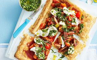 Tomato, prosciutto and mozzarella tart
