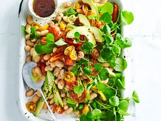 White bean, avocado and capsicum salad