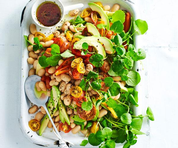 "**[White bean, avocado and capsicum salad](https://www.womensweeklyfood.com.au/recipes/white-bean-avocado-and-capsicum-salad-31288|target=""_blank"")**  This 5-ingredient salad is full of protein-rich white beans. Finished with a simple red wine vinegar dressing, it's not only easy, it's also delicious and budget-friendly too."