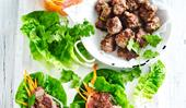 Vietnamese meatball and lettuce wrap