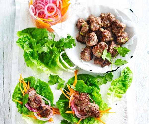 "**[Vietnamese meatball and lettuce wrap](https://www.womensweeklyfood.com.au/recipes/vietnamese-meatball-and-lettuce-wrap-31290|target=""_blank"")**  Vietnamese Banh Mi flavours meets San Choy Bau. The juicy beef combined with pickled carrot and coriander makes for a flavoursome low carb meal."