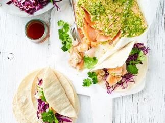 Pulled salmon tortillas with red cabbage slaw