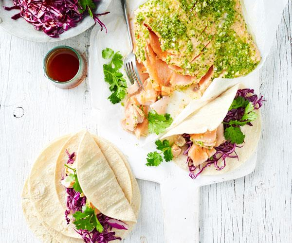 "**[Pulled salmon tortillas with red cabbage slaw](https://www.womensweeklyfood.com.au/recipes/salmon-tortillas-with-red-cabbage-slaw-31292|target=""_blank"")**  Baked whole salmon fillet with fresh flavours of coriander and red cabbage slaw creates a lighter twist on soft tacos."