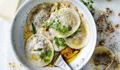 Mushroom and goat's cheese ravioli