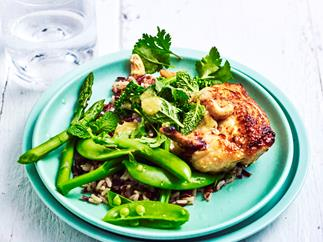Chicken with broccolini and asparagus