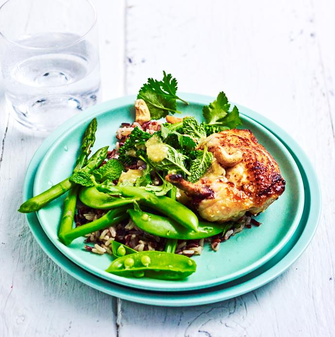 "[Broccolini, asparagus and miso chicken salad recipe.](https://www.womensweeklyfood.com.au/recipes/chicken-with-broccolini-and-asparagus-29579|target=""_blank"")"