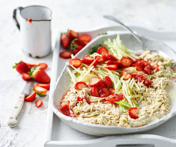 Overnight oats with muddled strawberries