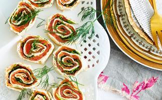Smoked salmon and herb pinwheels