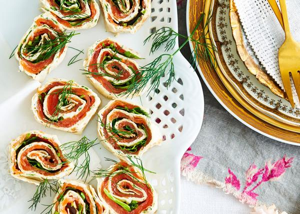 Smoked salmon and herb pinwheels