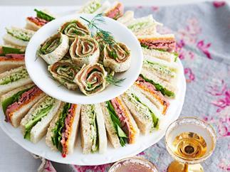 Roast beef and mustard ribbon sandwiches