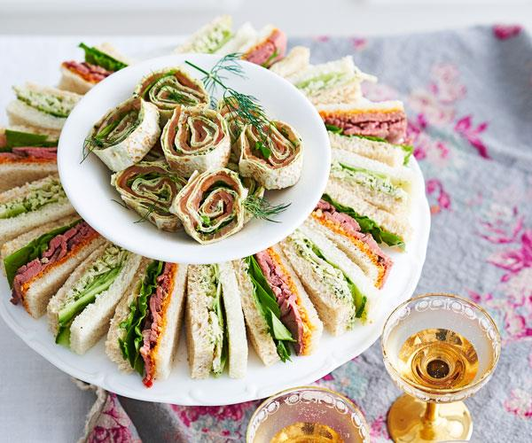 Chicken and cucumber ribbon sandwiches