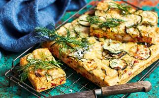 Carrot, zucchini and bacon slice