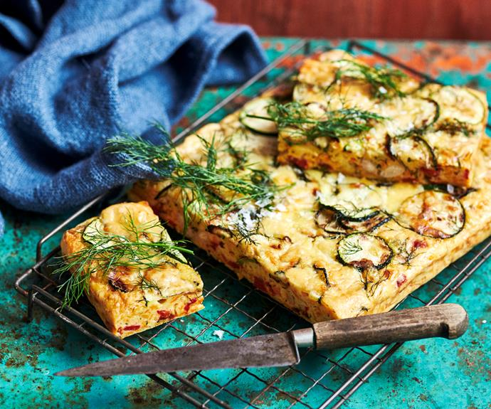"""**[Carrot, zucchini and bacon slice](https://www.womensweeklyfood.com.au/recipes/carrot-zucchini-and-bacon-slice-20631