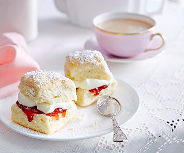 "This [basic scones recipe](https://www.womensweeklyfood.com.au/recipes/basic-scone-22571|target=""_blank"") uses only three ingredients to make. Serve with jam and cream."