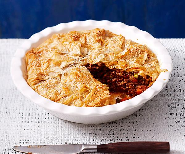 "Fill up this winter with a classic [savoury mince pie](https://www.womensweeklyfood.com.au/recipes/savoury-mince-pie-27186|target=""_blank""). Filled with meat, veggies and gravy it's a classic for a reason. This version uses filo for added texture."