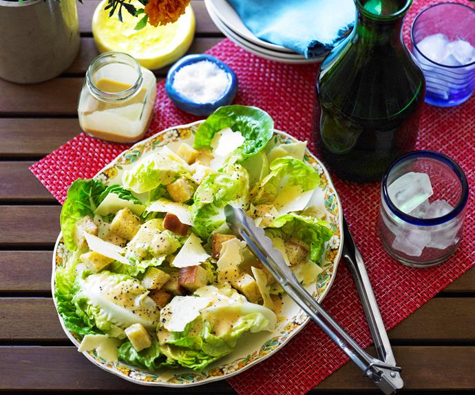 "This [Caesar salad](https://www.womensweeklyfood.com.au/recipes/caesar-salad-10260|target=""_blank"") favourite is characterised by boiled egg, bacon, croutons and a signature dressing flavoured with anchovies. Great as a side dish, added to a sandwich or as a meal of itself."
