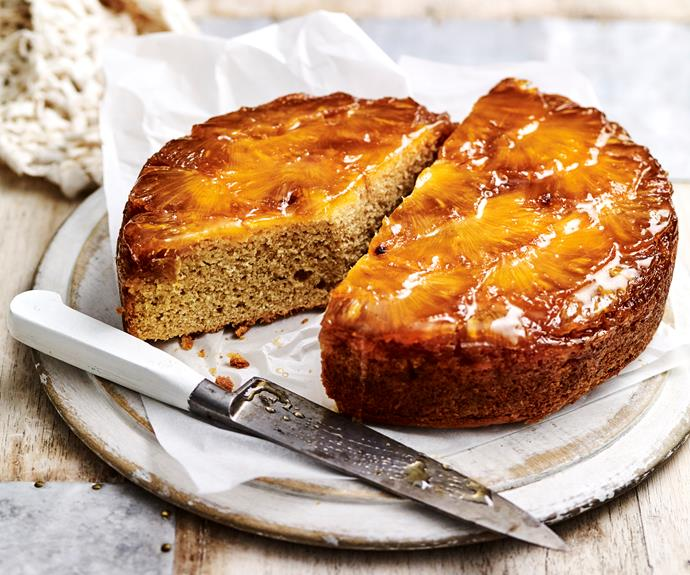 "**[Pineapple upside-down cake](https://www.womensweeklyfood.com.au/recipes/pineapple-upside-down-cake-5391|target=""_blank"")**  Upside down cakes make a fabulous and impressive dessert. Pineapple is caramelised on the bottom of the pan and the cake is flipped after cooking to produce the signature look."