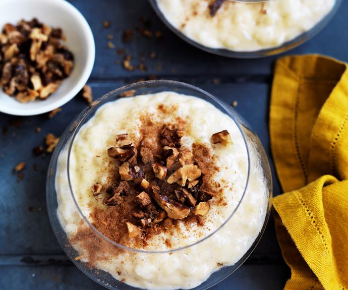 "Creamy vanilla [rice pudding](https://www.womensweeklyfood.com.au/recipes/rice-pudding-5767|target=""_blank""), served hot or cold is a favourite comfort food. This version has sultanas for bursts of sweetness. Serve topped with fruit or nuts."