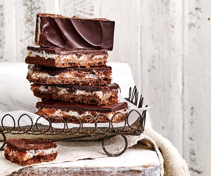 "**[Choc-cherry slice](https://www.womensweeklyfood.com.au/recipes/choc-cherry-slice-31359|target=""_blank"")**  Chocolate, cherries and coconut come together in perfect harmony to create a rich and indulgent treat."