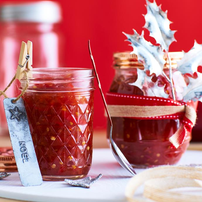 "**[Tomato chilli jam](http://www.womensweeklyfood.com.au/recipes/tomato-chilli-jam-9578|target=""_blank"")**  Make this simple, spicy homemade jam for use in stir-fries or on the side with barbecued meat. Package up in jars for the perfect edible Christmas gift."