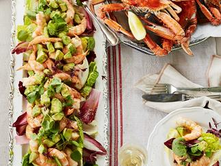 King prawns, crabs and avocado salad with verjuice mayonnaise