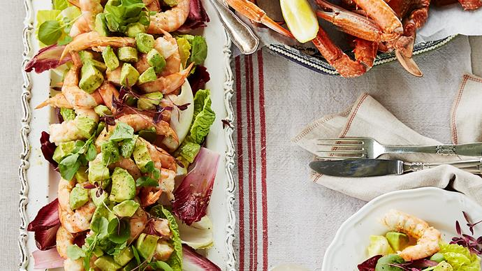 Maggie Beer's king prawns, crabs and avocado salad with verjuice mayonnaise