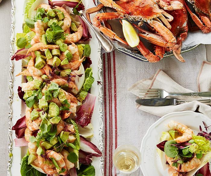King prawns, crabs and avocado salad with verjuice mayonnaise
