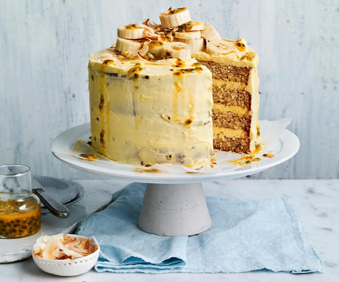 "Topped with fresh banana and passionfruit pulp, this [layered cake](https://www.womensweeklyfood.com.au/recipes/coconut-banana-stacked-cake-31389|target=""_blank"") is sure to satisfy your sweet tooth cravings."