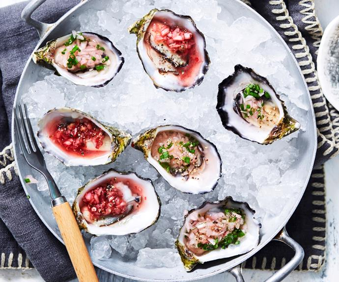 "**[Oysters with pink & green mignonette dressings](https://www.womensweeklyfood.com.au/recipes/oysters-with-pink-and-green-mignonette-dressings-31386|target=""_blank"")**  We've given this classic oyster topping a makeover with two variations on the shallot dressing - a pink and green mignonette."