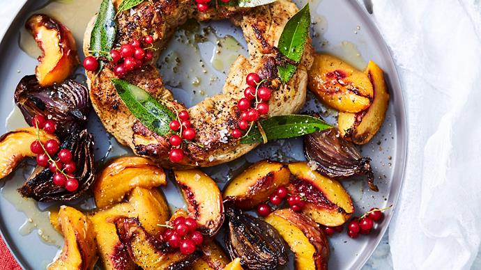 Roast pork wreath with stone fruit