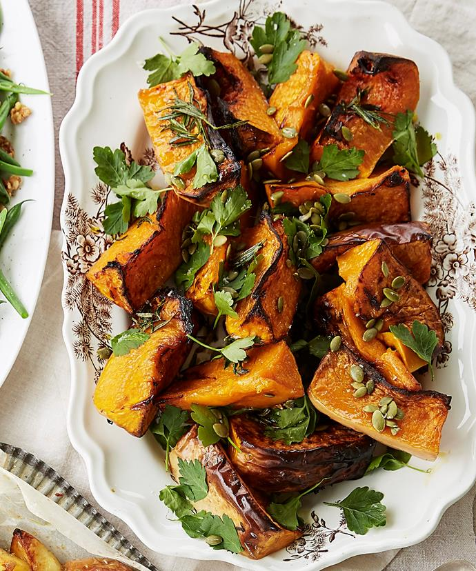 "**[Maggie Beer's baked pumpkin with herbs and pumpkin seeds](https://www.womensweeklyfood.com.au/recipes/baked-pumpkin-with-herbs-and-pumpkin-seeds-31372|target=""_blank"")**  Maggie Beer gives baked pumpkin a makeover for your Christmas spread with fresh herbs and a verjuice glaze"