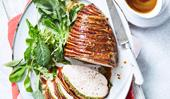 Herb-brined turkey breast in pancetta