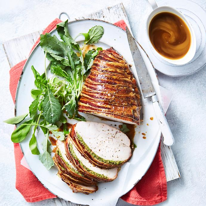 """**[Herb-brined turkey breast in pancetta](https://www.womensweeklyfood.com.au/recipes/herb-brined-turkey-breast-in-pancetta-31379 target=""""_blank"""")**  Herb-brined overnight, stuffed with olive and wrapped in pancetta - this turkey breast is full of flavour and stays beautifully moist when cooked."""