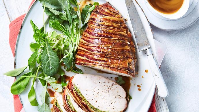 Herb-brined turkey breast in pancetta